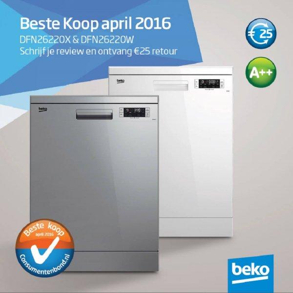 25 euro retour bij aankoop van een Beko DFN26220