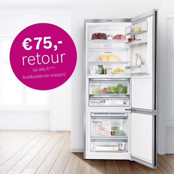 Cashback actie bij aankoop van Bosch koelkast of vriezer