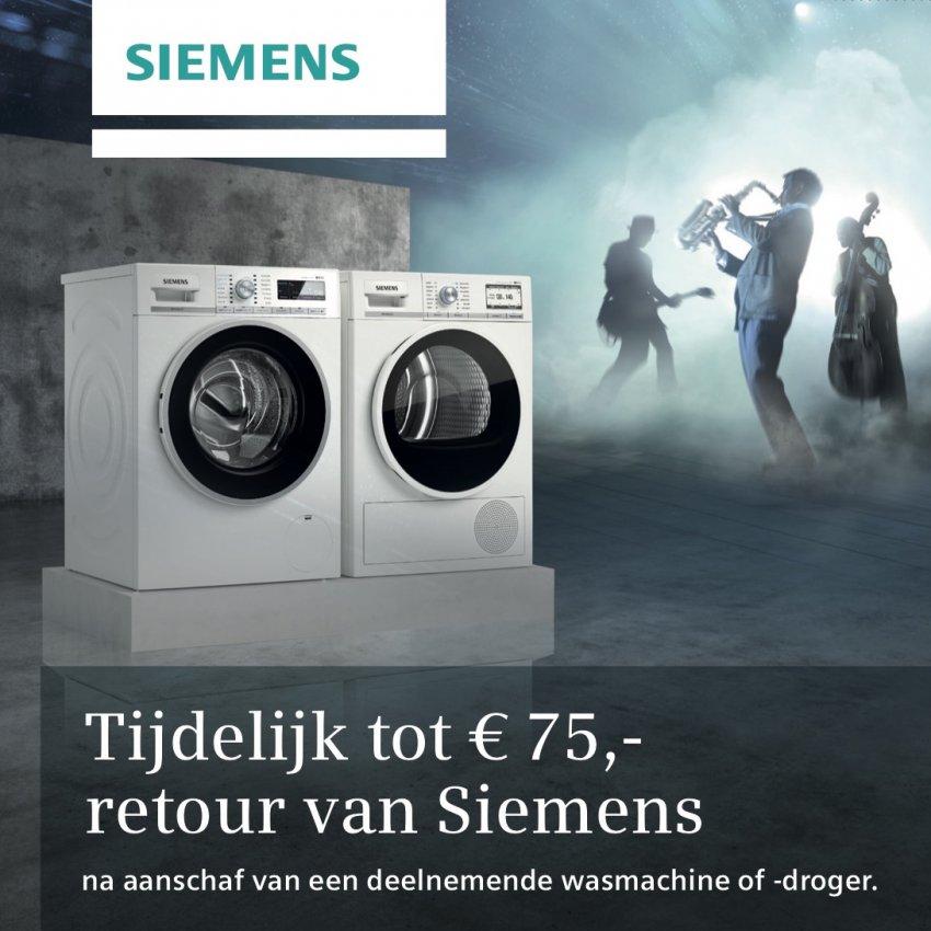 Tot 75 Euro retour op Siemens wasmachine of droger