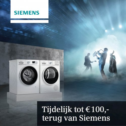 Cashback actie bij aankoop van Siemens wasmachine